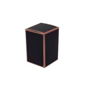 Danube Medium Knob Lid Candle Box No Window (Black with Rose Gold Edge)