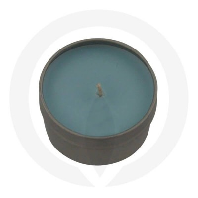 Teal coloured tin candle