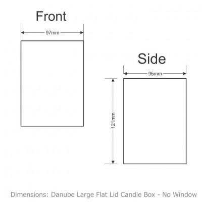 Danube Large Flat Lid Candle Box No Window (Black) dimension sheet