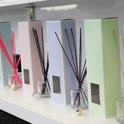 Selection of fragrance diffusers in showroom display