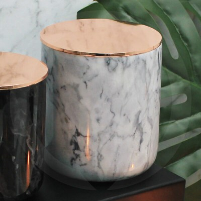 Rose Gold Lid on Grey Marble Jar