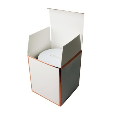 XL Candle Box No Window (White with Rose Gold Edge) with Lid Open