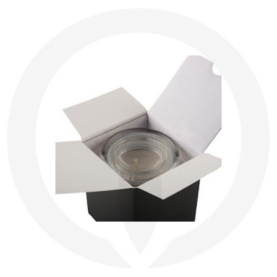 Danube Large Flat Lid Candle Box No Window (Black) shown open with glassware inside