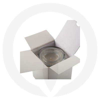 Danube Medium Flat Lid Candle Box No Window (White) shown open with glassware