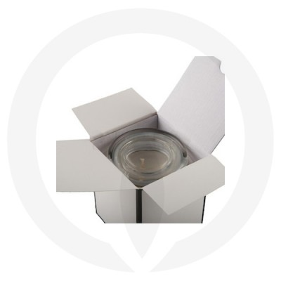 Danube XL Flat Lid Candle Box No Window (White with Black Edge) shown open with glassware inside