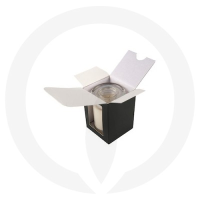 Danube XL Flat Lid Candle Box with Window (Black) shown open with glassware inside