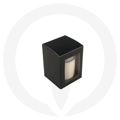 Danube Medium Flat Lid Candle Box with Window (Black)