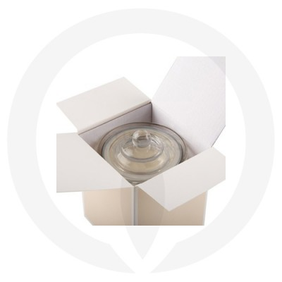 Danube Large Knob Lid Candle Box No Window (Beige) shown with glassware inside