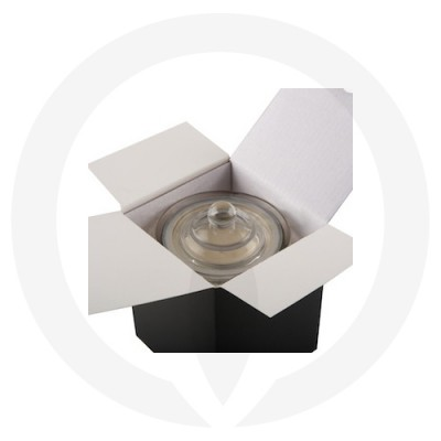 Danube Large Knob Lid Candle Box No Window (Black) shown open with glassware inside