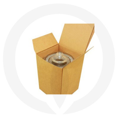 Danube XL Knob Lid Candle Box No Window (Kraft Brown) shown open with glassware inside