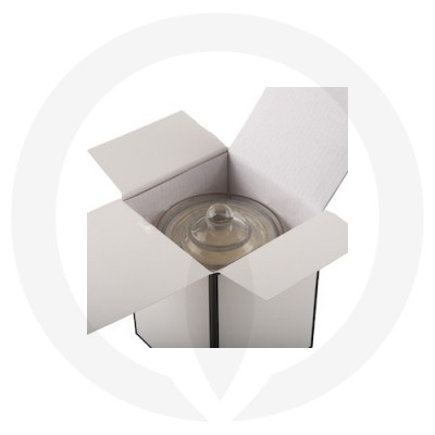 Danube XL Knob Lid Candle Box No Window (White w Black Edge) shown open with glassware inside