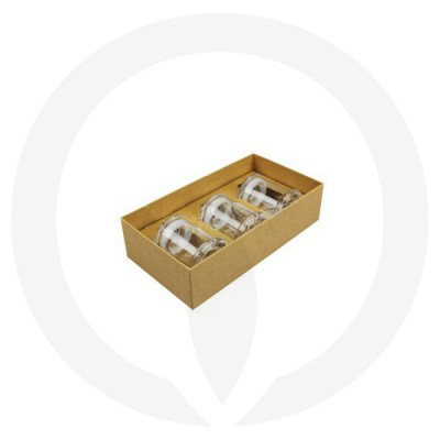 Danube Small Knob Lid Candle Box - Trio Pack - (Kraft Brown) shown with glassware