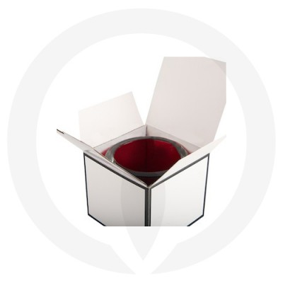 Velino Large Candle Box No Window (White w Black Edge) shown with candle glassware inside