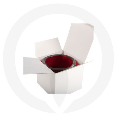 Velino Medium Candle Box No Window (White) shown open with candle glassware inside