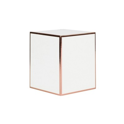 Medium Candle Box No Window (White with Rose Gold Edge)