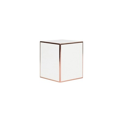 Small Candle Box No Window (White with Rose Gold Edge)