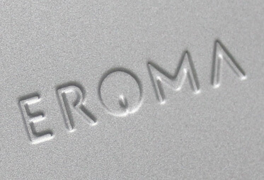 Eroma debossed metal lid closeup