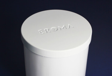 White metal lid with Eroma brand name debossed
