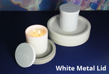 Candles with white metal lids