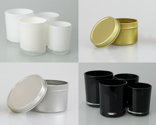 Candle tins and Oxford tumbler candle glassware